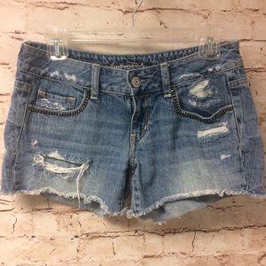 American Eagle Rhinestone Distressed Denim Shorts